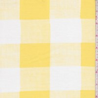 White/Yellow Gingham Check Rayon Challis