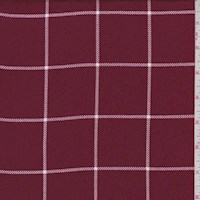 Cranberry Windowpane Check Rayon Challis
