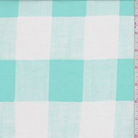 White/Mint Gingham Check Rayon Challis