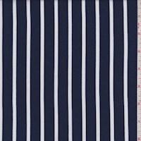 Navy/White Chalk Stripe Rayon Challis