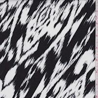 White/Black Ikat Rayon Challis