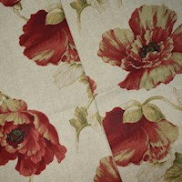 *5 1/8 YD PC -- Natural Beige/Red/Multi Floral Printed Canvas Decorating Fabric