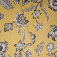*6 YD PC -- Antique Yellow/Gray Floral Printed Twill Woven Decorating Fabric