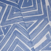 *3 1/2 YD PC -- Blue/White Abstract Maze Printed Canvas Decorating Fabric