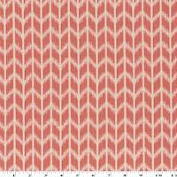 *1 YD PC--Coral Red/Ivory Stripe Chevron Ikat Damask Decorating Fabric
