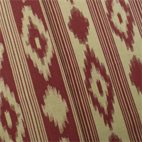 *1 YD PC--Red/Beige Ikat Stripe Jacquard Home Decorating Fabric