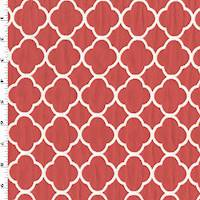 *1 YD PC--Red/White Quatrefoil Matelasse Home Decorating Fabric