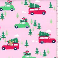 """*4 YD PC--Pink """"Holiday Shopping"""" Print Cotton"""