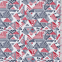 *3 7/8 YD PC--White/Navy/Orange Triangle Print Swimwear