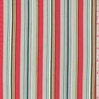 "*3 YD PC--Grey/Coral ""Woodland Walk"" Stripe Print Cotton"