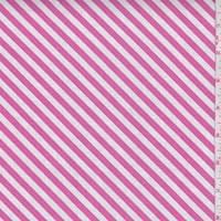 "*2 3/8 YD PC--Bubblegum Pink/White ""Sugar Stripe"" Print Cotton"