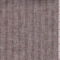 *4 YD PC--Heather Brown Embroidered Stripe Linen