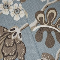 *8 1/4 YD PC -- Blue/Brown/White Floral Printed Basketweave Decorating Fabric