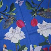 *3 1/8 YD PC -- Cobalt Blue/Red/Multi Floral Printed Slub Decorating Fabric