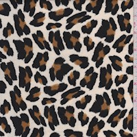 Ecru/Brown/Black Cheetah Double Brushed Jersey Knit
