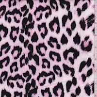 Carnation Pink/Black Ikat Cheetah Double Brushed Jersey Knit