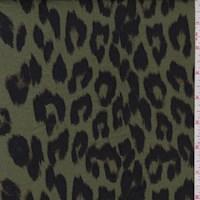 Fern Green/Black Ikat Cheetah Double Brushed Jersey Knit