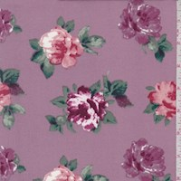 Mauve Floral Bloom Double Brushed Jersey Knit