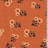 Pumpkin Floral Pin Dot Double Brushed Jersey Knit