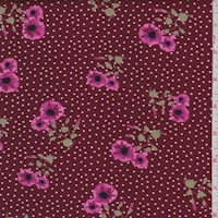 Maroon Floral Pin Dot Double Brushed Jersey Knit