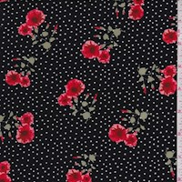Black Floral Pin Dot Double Brushed Jersey Knit