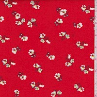Red Mini Floral Double Brushed Jersey Knit
