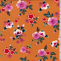 Pumpkin Vibrant Floral Double Brushed Jersey Knit