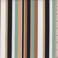 Caramel/Jade/Beige Stripe Stretch Sateen