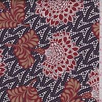 Plum/Maroon Stylized Floral Twill Satin Lining