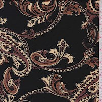 Black/Mocha Stylized Paisley ITY Jersey Knit