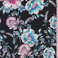 Black/Pink/Aqua Floral Garden ITY Jersey Knit