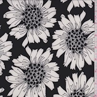 Black/White Floral Bloom Nylon Knit