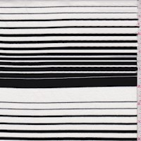 White/Black Wool Blend Stripe Double Knit