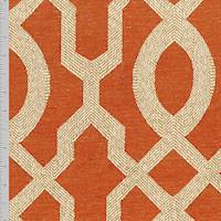 **6 YD PC--Orange/Beige Imperial Trellis Jacquard Decorating Fabric