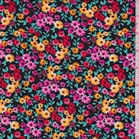 *2 YD PC--Black/Gold/Pink Mini Floral ITY Knit