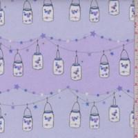 """*2 7/8 YD PC--Lavender """"Twinkle Twinkle Little Jars"""" Print Cotton Flannel"""