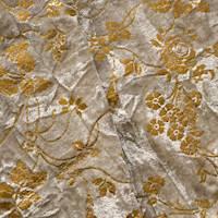 *1 3/4 YD PC--Pearl Beige/Gold Floral Foil Printed Crushed Velvet
