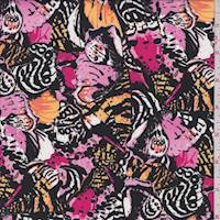 *9 YD PC--Black/Pink/Gold Butterfly Wing Challis