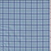 *2 1/4 YD PC--Blue/Seafoam Plaid Cotton Shirting