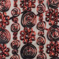 *3 7/8 YD PC--Candy Apple Red/Black Swirl Ribbon Mesh