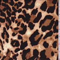 Sandy Brown Leopard Print Double Brushed Jersey Knit
