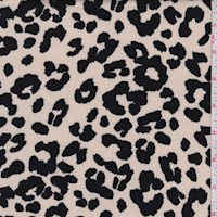 Ecru Leopard Print Double Brushed Jersey Knit