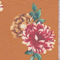 Heather Apricot Floral Brushed French Terry Knit
