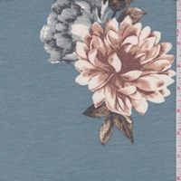 Heather Blue Floral Brushed French Terry Knit