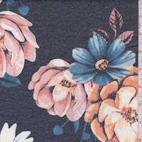Heather Navy Floral Brushed French Terry Knit