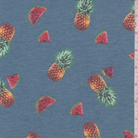 Dusty Blue Tossed Fruit Brushed French Terry Knit