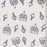 White Ice Cream Castle Brushed French Terry Knit