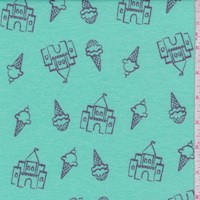 Mint Blue Ice Cream Castle Brushed French Terry Knit