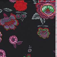 *6 1/2 YD PC--Black/Orange/Fuchsia Floral Silk Satin Charmeuse