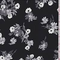 *5 YD PC--Black/Grey Tossed Floral Rayon Challis